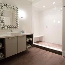 bathroom with elegant mirror