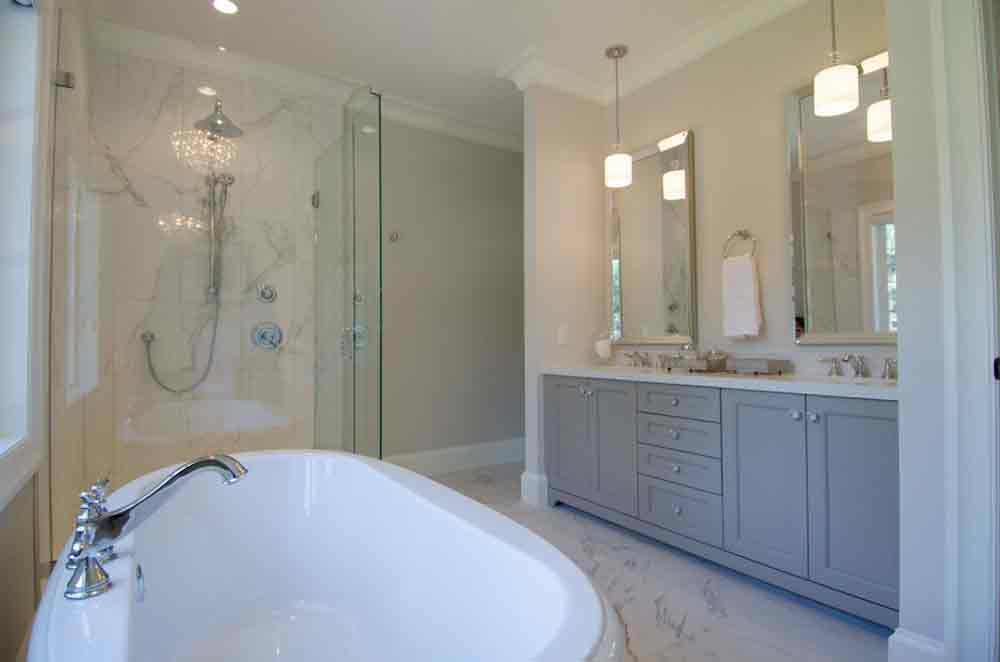tub in white bathroom